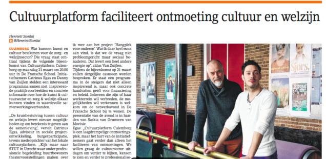 Cultuurplatform faciliteert ontmoeting cultuur en welzijn